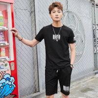 新款潮流休闲运动套装男士夏季韩版帅气棉质短袖t恤5分休闲裤