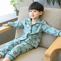 �和�睡衣男孩7�L袖6男童家居服套�b�棉4秋冬季5����秋�b3�q2小童