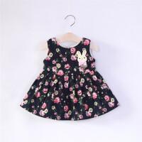 宝宝背心裙秋季童装女童连衣裙加绒儿童碎花马甲裙婴儿装裙子 黑色 玫瑰有约