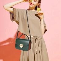 BEIER 贝尔 新品牛皮撞色单肩包女小方包时尚休闲斜挎包欧美潮流甜美女包