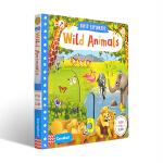 【中商原版】小小探索家 野生动物 英文原版 Wild Animals 纸板书 推拉滑动操作书 机关书