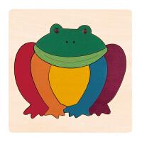 Hape创意拼图-彩虹蛙儿童早教木质拼图玩具E6503