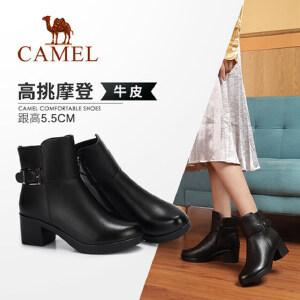 骆驼女鞋2018冬季新款低跟简约保暖舒适防滑圆头粗跟真皮短筒女靴