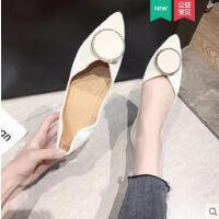 水钻尖头网红平底单鞋女韩版新款平跟百搭软底浅口豆豆鞋
