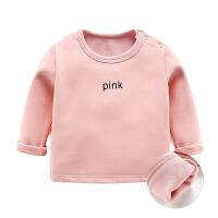 男婴儿长袖T恤装1岁女宝宝加绒打底衫3个月新生儿保暖上衣季