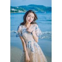 夏季新款复古重工网纱刺绣气质连衣裙写真仙女裙海边度假沙滩裙收腰显瘦大摆长裙 图片色