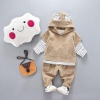 儿童装男童春装三件套装2018新款小童2休闲卫衣1-3岁宝宝春季套装 米黄 灯心绒3件套