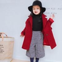 新年装女童2017装新款韩版括型大红呢子夹棉大衣保暖外套 红色 1