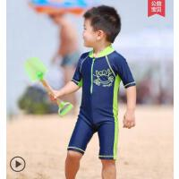 户外新款儿童连体泳衣男宝宝卡通螃蟹泳衣温泉沙滩冲浪服男童防晒冲浪服