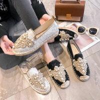 女士平底蕾丝单鞋 新款珍珠豆豆鞋女 韩版白色渔夫鞋 女生网红拖鞋