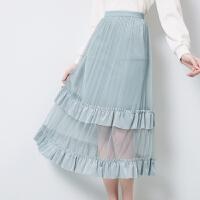 秋水伊人2020年春装新款女装纯色蕾丝拼接松紧腰半身长裙女