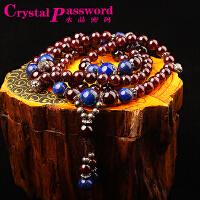 水晶密码CrystalPassWord 原创天然巴西石榴石青金石藏银三圈佛珠手链SJMM3-020