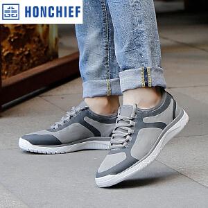 HONCHIEF 红蜻蜓旗下春秋新款日常休闲运动鞋轻便舒适系带男单鞋