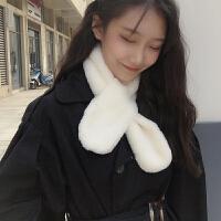 韩版小清新围巾女冬季可爱少女仿毛绒獭兔毛学生围脖套头保暖围巾围脖
