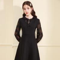 秋水伊人连衣裙冬装2019新款女装黑色蕾丝优雅喇叭袖长袖修身裙子