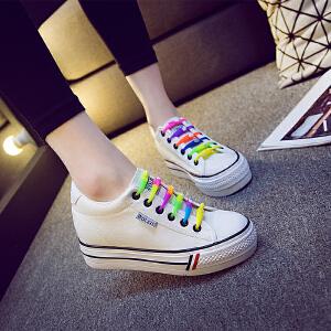 2017春秋款低帮厚底白色帆布鞋女内增高韩版潮平底松糕学生板鞋布鞋女鞋