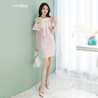 百雅尚2018夏季新款女装性感吊带一字肩粉色连衣裙名媛宴会小礼服 粉色