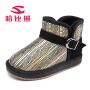 哈比熊童鞋冬季新款儿童靴子防滑保暖时尚条纹革面女童男童雪地靴