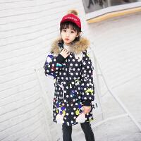 女童羽绒服中长款加厚保暖韩版过膝新品童装中大童连帽潮加厚装 深 黑色熊猫