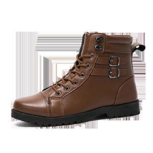 罗兰船长 休闲鞋男马丁靴潮流时尚男靴 棕色 39D