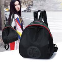 2018包包女范冰冰同款双肩包休闲学生书包韩版旅行包贝壳单肩背包 黑色