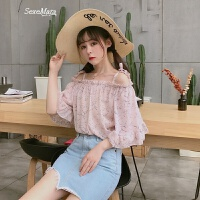 夏装新款女装韩版可爱甜美一字领雪纺衫碎花荷叶袖吊带上衣女衬衫 均码