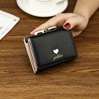 新款新款女士钱包 女短款 学生日韩版欧美复古小零钱包皮夹子 黑色 爱心 爱心