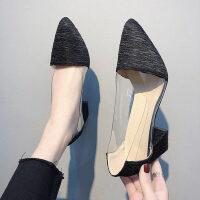 尖头透明网红性感浅口粗跟单女鞋春季法式少女高跟鞋女