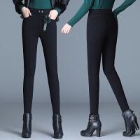 紧身打底裤女外穿秋冬款2019新款加绒加厚高腰裤子黑色显瘦小脚裤