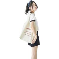 新款帆布包女单肩ulzzang学生韩版原宿文艺小清新手提袋环保购物布袋 其他