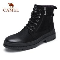 camel骆驼男鞋 新款潮流时尚马丁靴皮质高帮毛里靴子男靴
