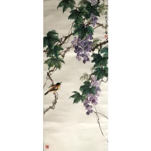 花鸟画家   黄幻吾《葡萄小鸟》