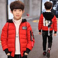 儿童男童羽绒棉衣2017装新款中大童男孩短款10棉袄1215岁13 脸谱棉衣红色
