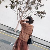 条纹毛衣衫 欧美套头镂空针织毛线衫宽松上衣毛衣女装潮 焦糖色 均码