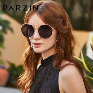 帕森2019新品太阳镜 女士金属多边形大框尼龙镜片韩版潮墨镜91601
