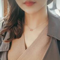 s925纯银项链几何镂空爱心形吊坠 女韩版简约气质锁骨链生日礼物