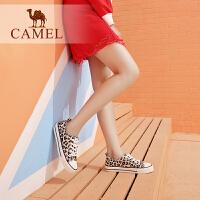 骆驼女鞋2019新款鞋子春季韩版休闲鞋学生板鞋单鞋女豹纹帆布鞋女