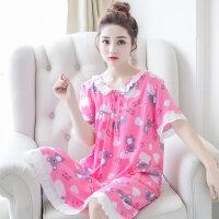 夏季睡裙女短袖棉绸卡通睡衣人造棉绵绸圆领休闲家居服小清晰睡裙