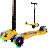 炫梦奇儿童滑板车2-6岁-12岁-21岁四轮小孩折叠闪光滑滑车宝宝踏板车 三两轮摇摆滑轮车幼儿脚踏车 黄色