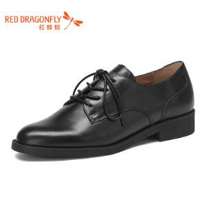 红蜻蜓女鞋粗跟低跟系带女单鞋真皮简约舒适小皮鞋