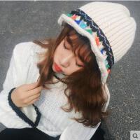 帽子 盆帽 毛线帽 韩版学院风毛线盆帽渔夫帽撞色流苏针织毛线帽户外休闲帽子潮