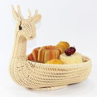 创意糖果盘个性水果篮家用现代客厅面包篮子藤编水果盘干果盘 麋鹿 米色
