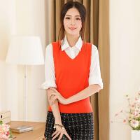 春季新款女士V领纯羊绒衫修身短款针织套头毛衣马甲纯色打底