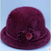 老年帽子女士兔毛盆帽老人奶奶加绒保暖礼帽中老年妈妈太太帽卷边