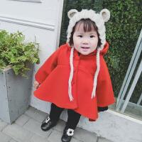 女宝宝呢子大衣装婴儿加绒中长款小童毛呢外套保暖连帽新年装韩