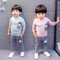 百槿 2018春季男童卡通企鹅卫衣休闲裤两件套 1-5岁身高70-120卫裤长裤套装