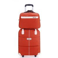 轻便牛津布拉杆袋拉包防水超轻旅行袋超大可拉子母包旅游行李箱休 桔色 套装版