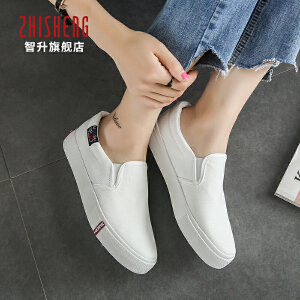 2017秋季帆布鞋女一脚蹬平底懒人鞋套脚韩版乐福鞋潮学生休闲鞋女板鞋