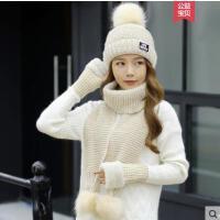 毛线帽子女新款时尚百搭字母韩版潮围巾三件套两件套