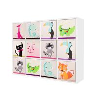 简约单个书柜卡通格子柜收纳柜玩具柜储物置物柜书架自由组合 0.6米宽